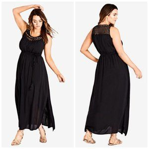 NWT City Chic Black Crochet Tassel Tie Maxi Dress
